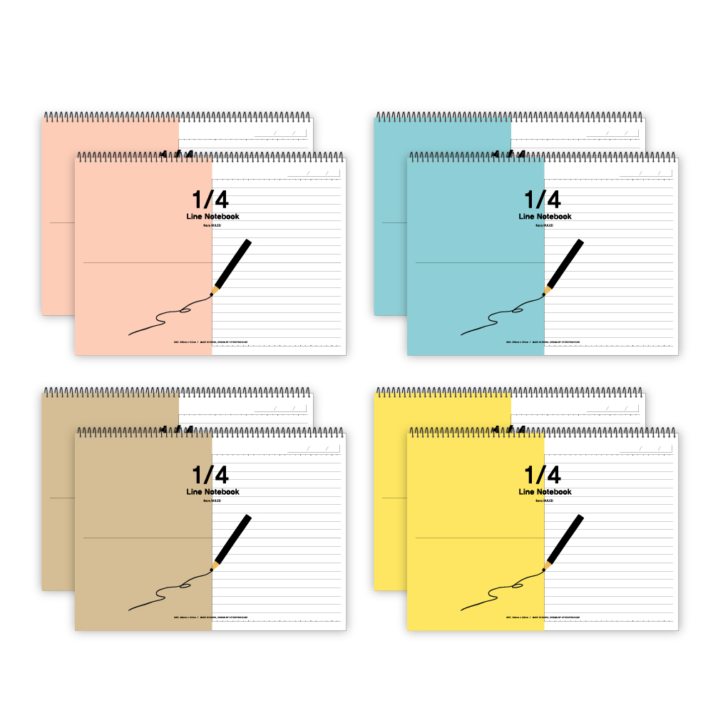 더오픈하우스 4구역 심플 가로노트 피치핑크 2p + 블루 2p + 크라프트 2p + 옐로우 2p 23-5621, 혼합 색상, 1세트