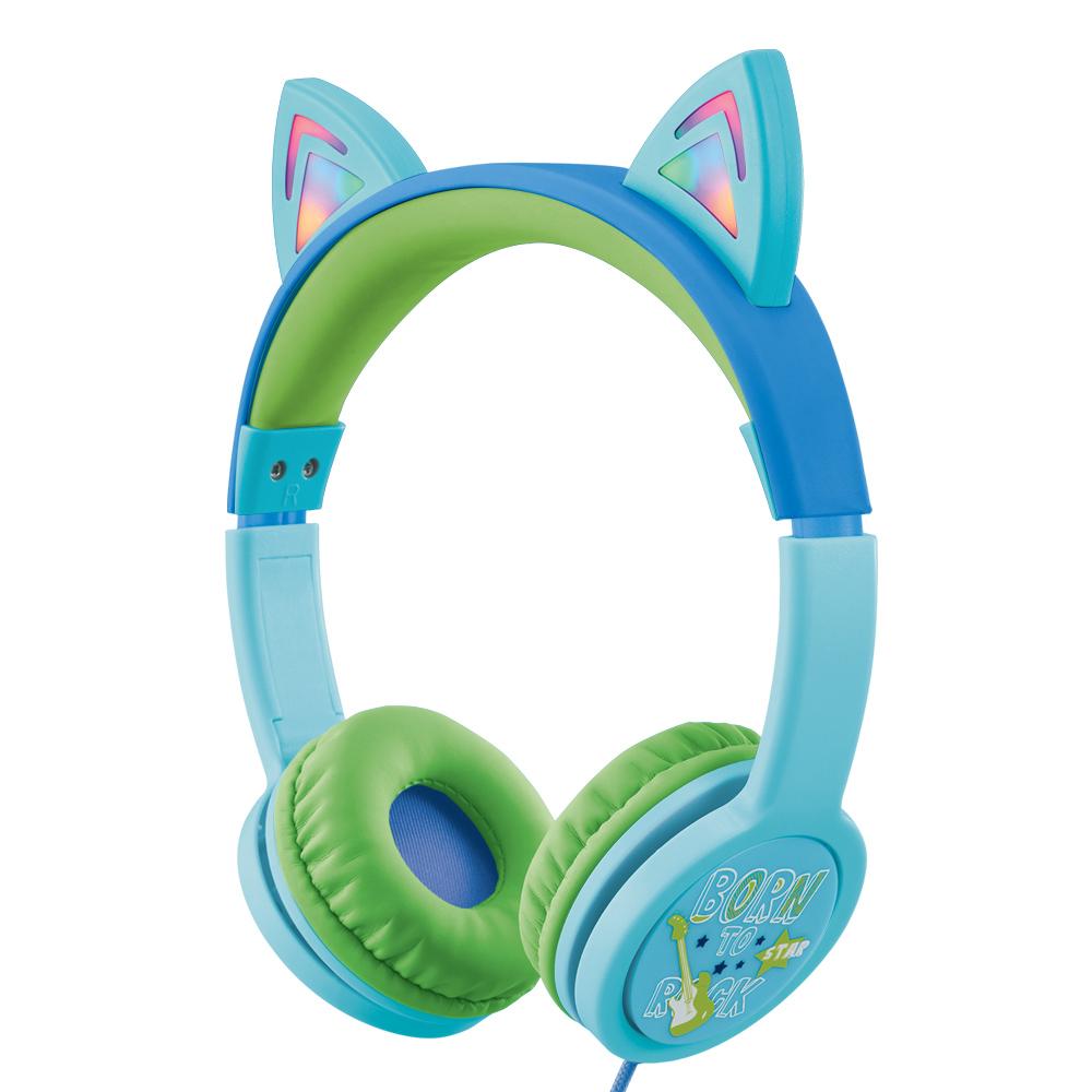 엑토 LED 캣츠 키즈 헤드폰, 블루, BKS-80