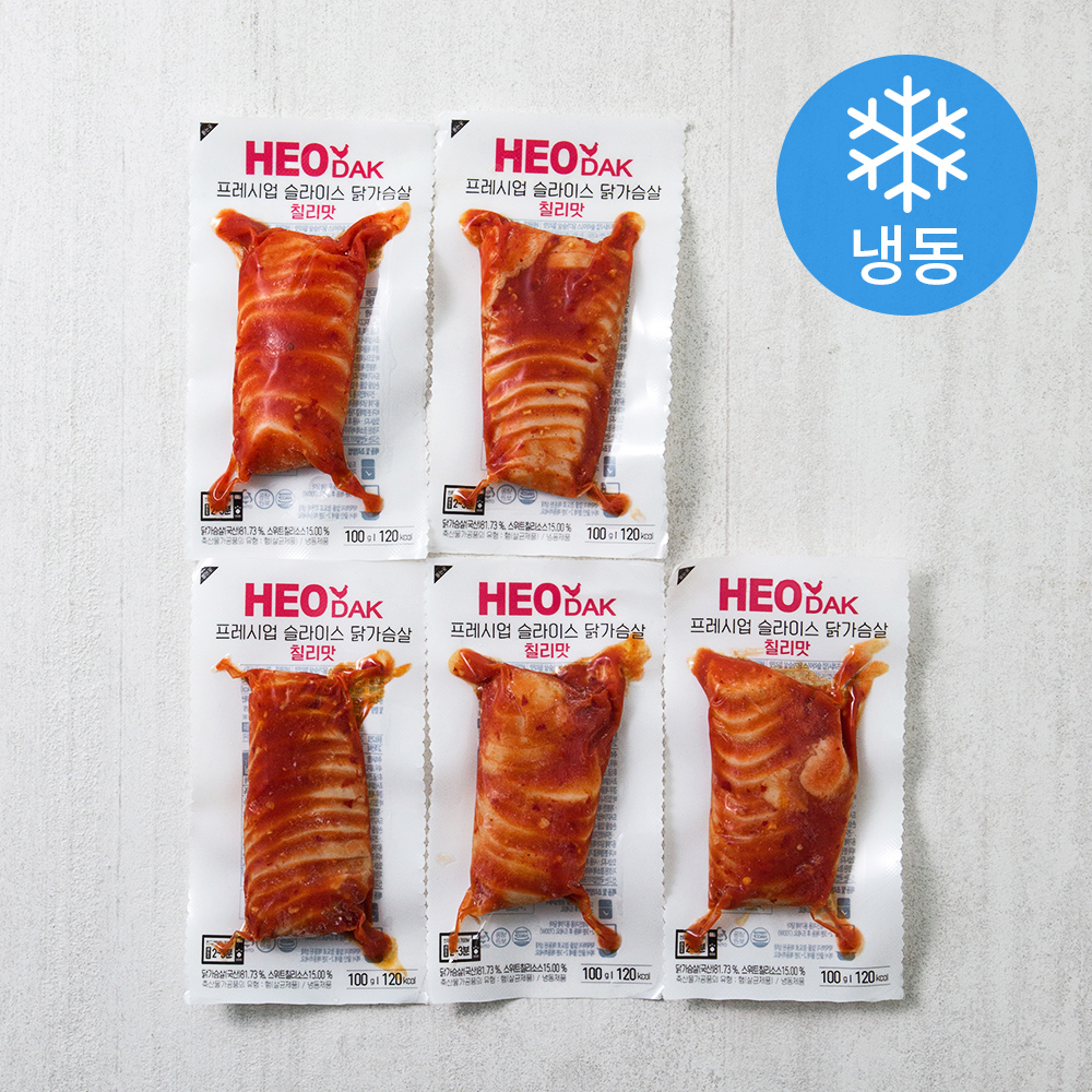 허닭 프레시업 슬라이스 닭가슴살 칠리맛 (냉동), 100g, 5개