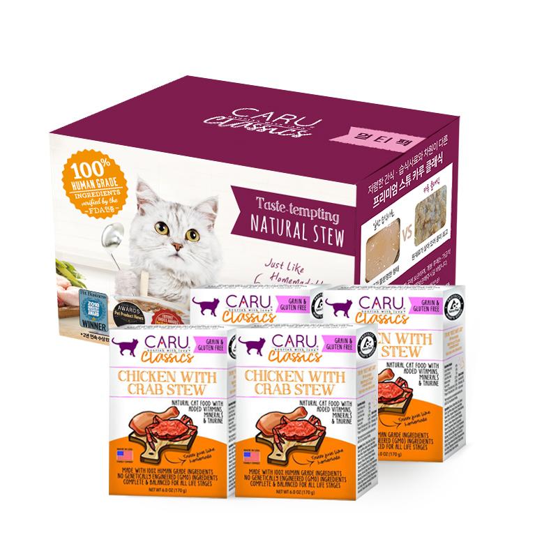 카루 클래식 치킨&크랩 스튜 멀티팩 고양이 습식사료, 170g, 4개