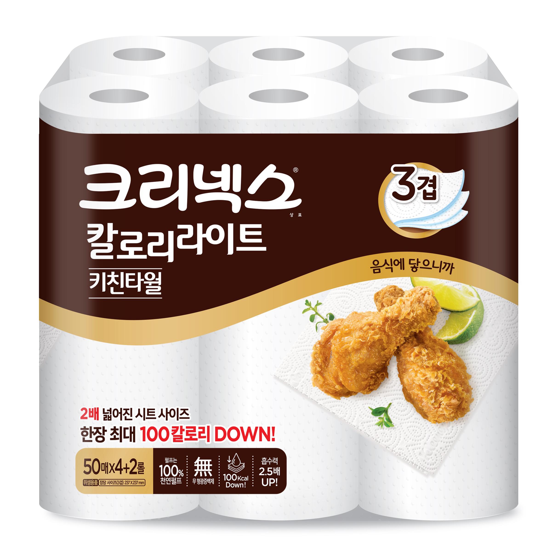 크리넥스 칼로리라이트 키친타월 50매, 6롤, 1개
