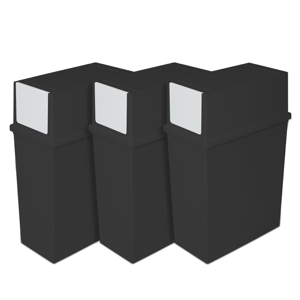 리빙스마일 분리수거함 푸시형 3p + 스티커, 블랙, 1세트