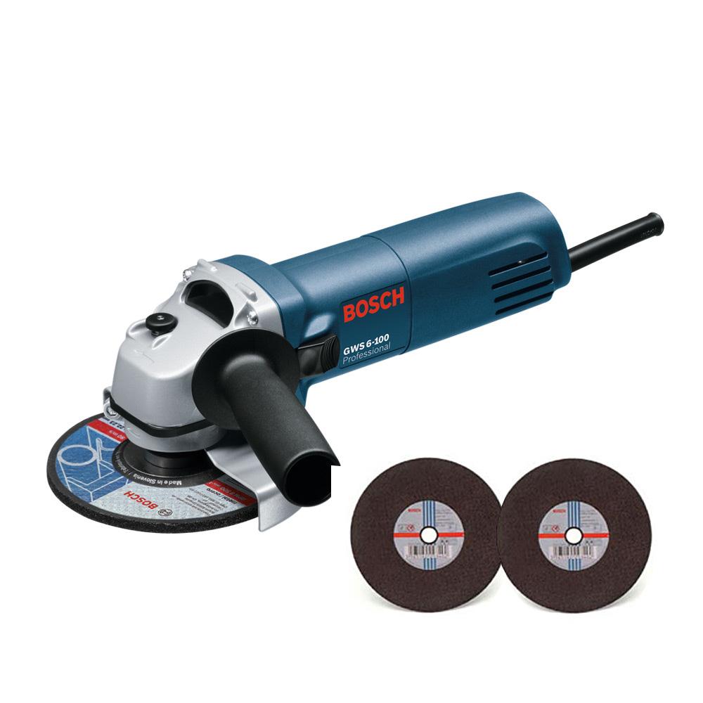 보쉬 10.2cm 그라인더 GWS 6-100 + 철재용 + 스텐리스용 절단석 2종, 1세트 (POP 276921723)
