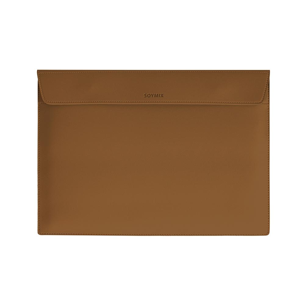 소이믹스 마그넷 가죽 노트북 파우치 맥북 가방 SOL2, 카멜브라운