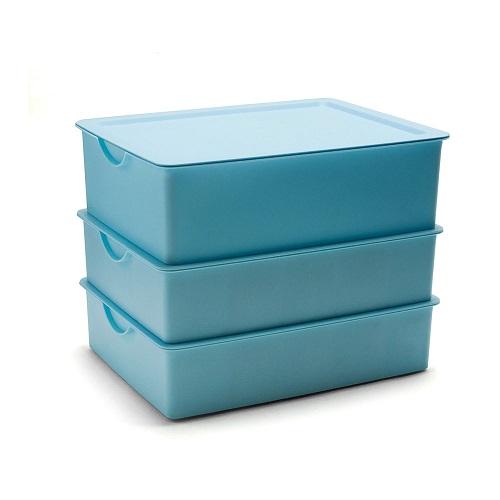 키친아트 다용도 속옷정리함 PP 3종세트 블루, 1세트
