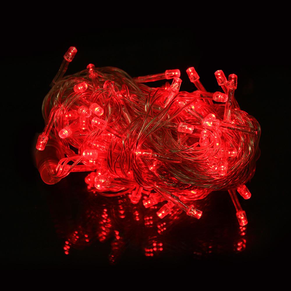 나이스엘이디 LED100구연결 트리전구 크리스마스전구 세트 투명선, 적색