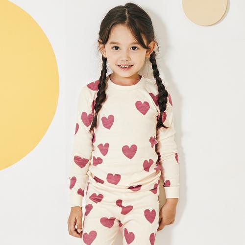 유니프랜드 아동용 핑크하트 오가닉 30수 9부 실내복 상하세트