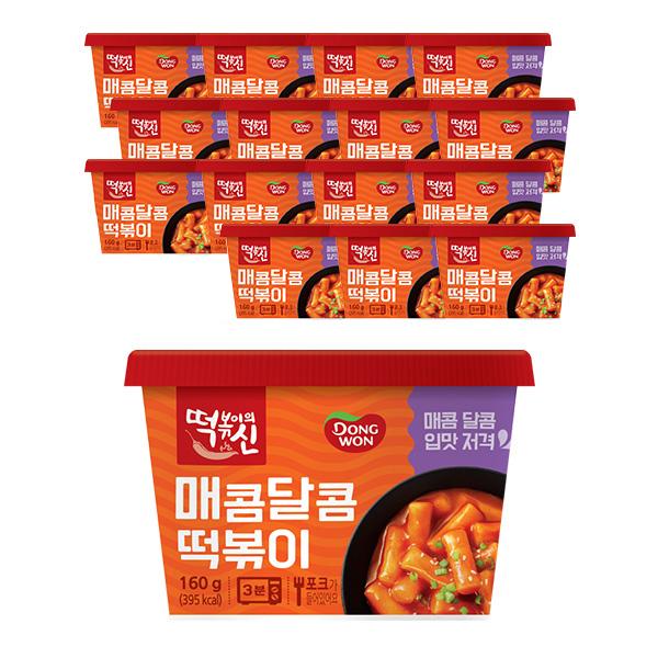동원에프앤비 떡볶이의신 매콤달콤 컵떡볶이, 160g, 16개