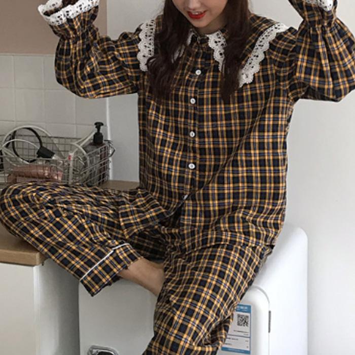 파게르 여성용 와이드카라 레이스 체크무늬 파자마 세트 와이드체크