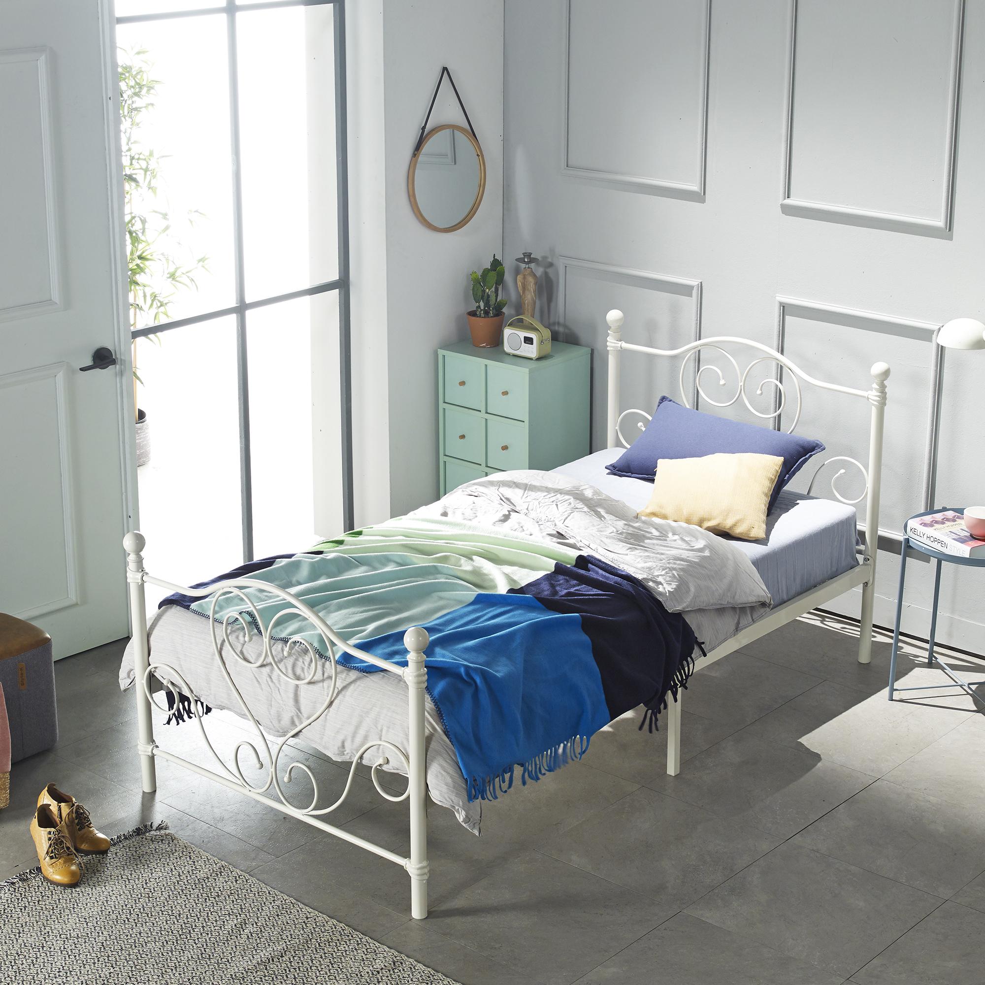 홈페리 에일린 클래식 침대 프레임 단품, 화이트