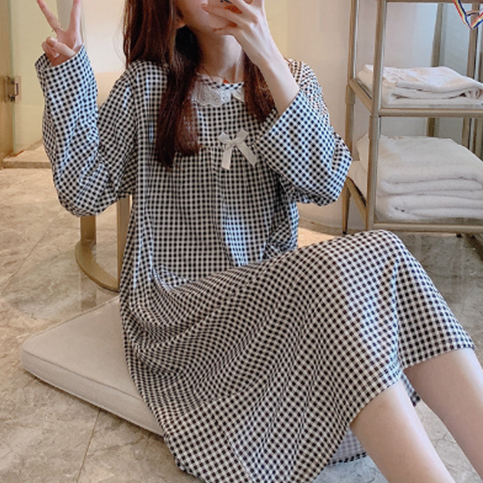저스틴 여성용 프릴넥라인 리본포인트 깅엄체크 원피스 잠옷 901