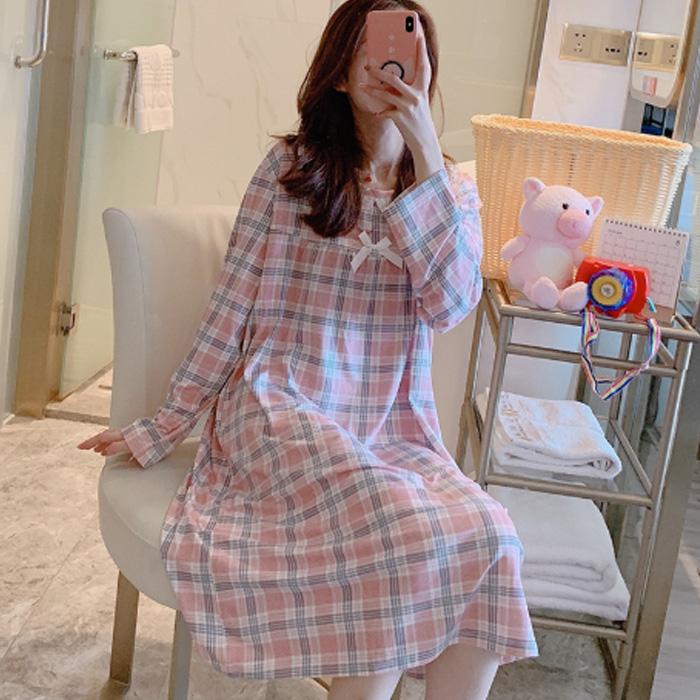 저스틴 여성용 프릴넥라인 리본포인트 타탄체크 원피스 잠옷 903