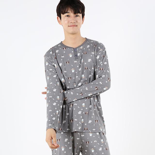 도씨 피치기모 긴팔 남성잠옷 상하세트