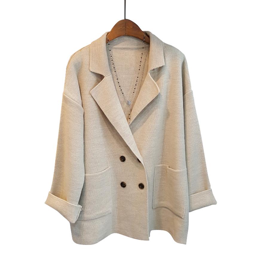 모노타임 여성용 더블 단추 니트 자켓