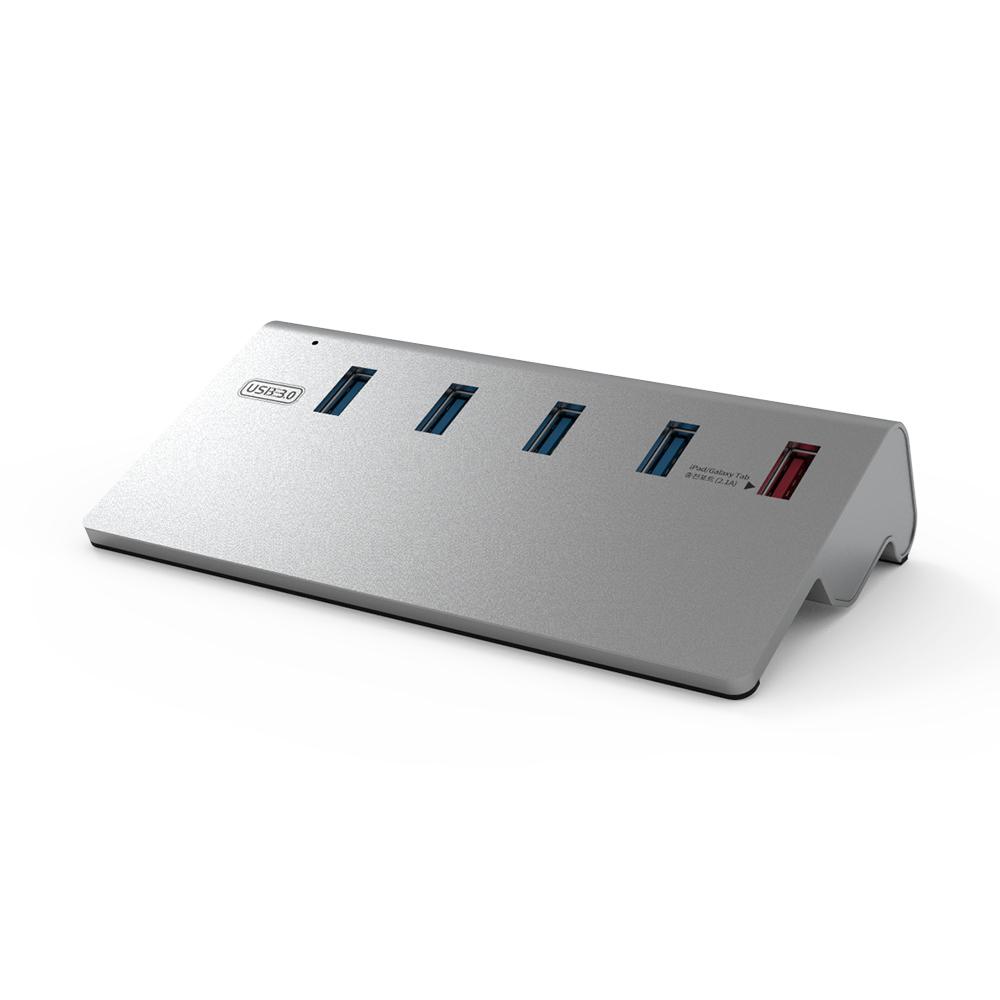 넥스트 이지넷유비쿼터스 USB3.0 알루미늄 5포트 스탠드형 유전원 USB허브 NEXT-316U3, 혼합 색상