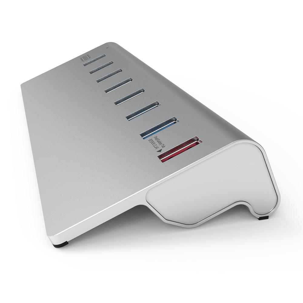 넥스트 이지넷유비쿼터스 USB3.0 알루미늄 8포트 스탠드형 유전원 USB허브 NEXT-319U3, 혼합 색상