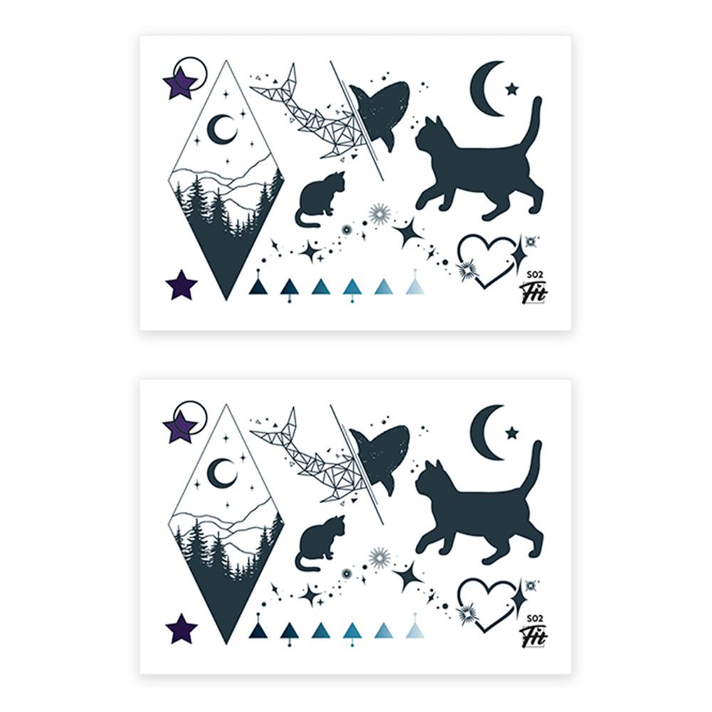 타투에이전트 타투핏 데일리 타투 스티커 SMALL TATTOO, S02 CATs SHINE, 2개