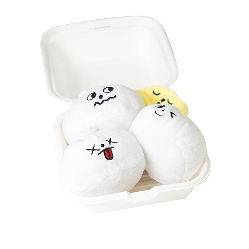 바잇미 반려동물 장난감 두부네 소문난 왕만두 7.5 x 5 cm 3p + 단무지 7 x 4 cm 2p, 혼합 색상, 1세트