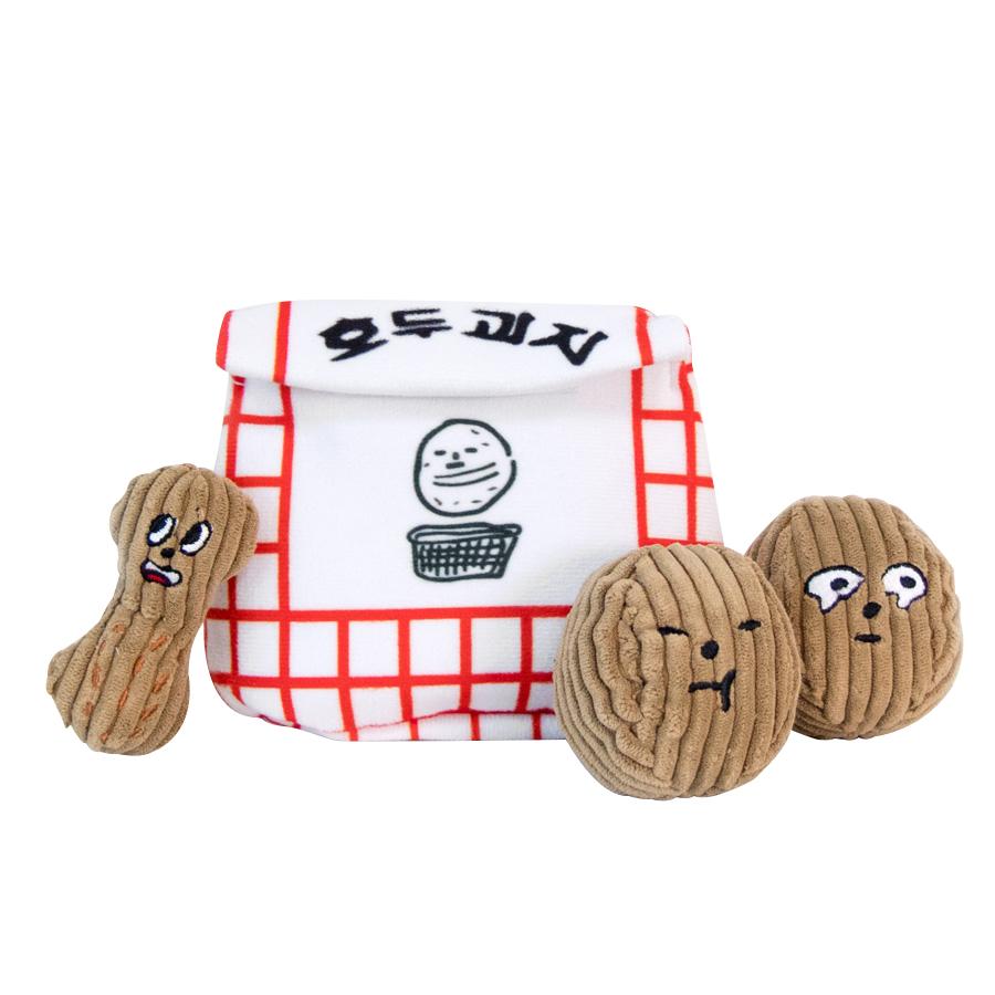 바잇미 반려동물 장난감 두부 할멍이 호두과자 6.5 x 6.5 cm 2p + 땅콩 9 x 5 cm + 봉투 17 x 16 cm, 혼합 색상, 1세트