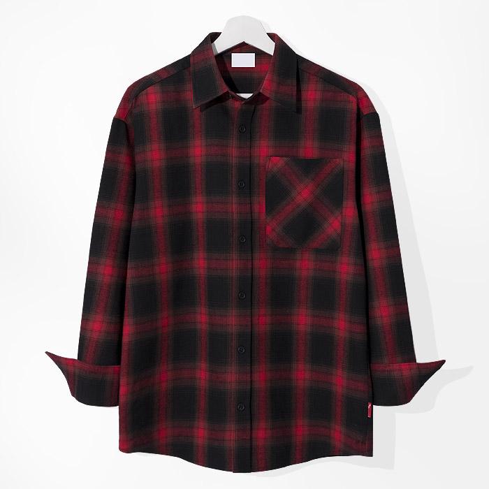 제이에이치스타일 남성용 블랙홀 딥 체크 긴팔 셔츠
