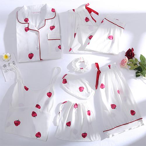 글램공감 여성용 베리베리 투피스 홈웨어 7종 세트 긴팔잠옷 + 반팔잠옷 + 안대 + 머리끈 + 가방