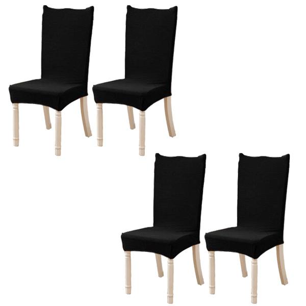 모던 와플 의자커버 4p, 블랙