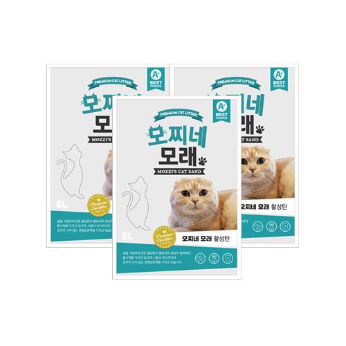 모찌네 고양이 모래 활성탄, 8L, 3개