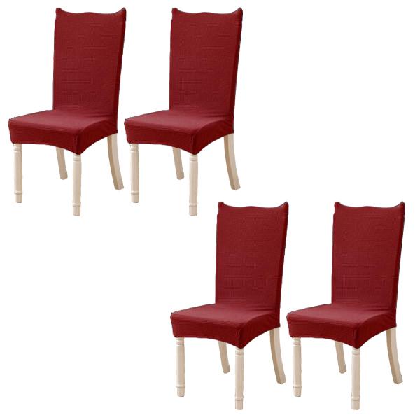 지니몰 모던 와플 의자커버 4p, 레드
