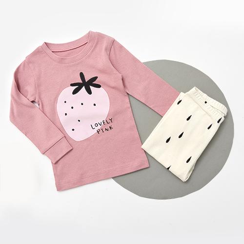 유니프랜드 아동용 핑크딸기 오가닉 30수 후라이스 9부 실내복 상하세트