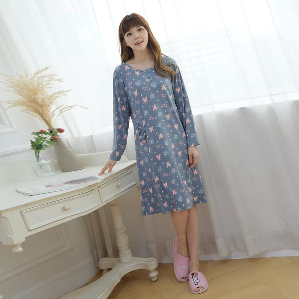 디노바시 여성용 DTY 피치기모 캐릭터 원피스 잠옷
