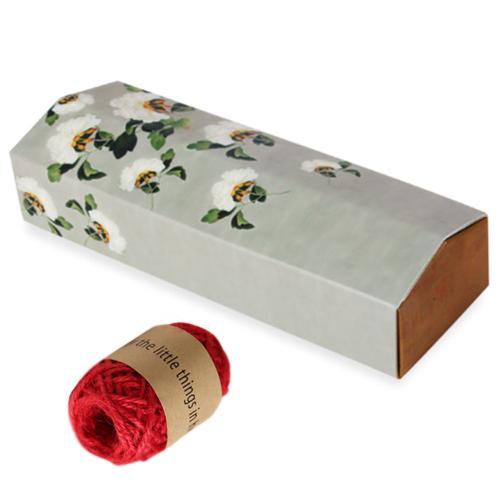 인디고샵 전통민화 흰꽃 기다란 상자 15p + 레드마끈 10m, 혼합 색상, 1세트