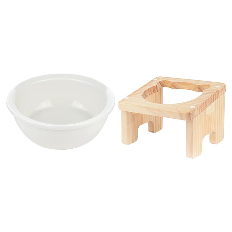 캣토피아 원목 애견 식탁 높이 10cm + 도자기식기 1구 세트, 혼합 색상, 1세트