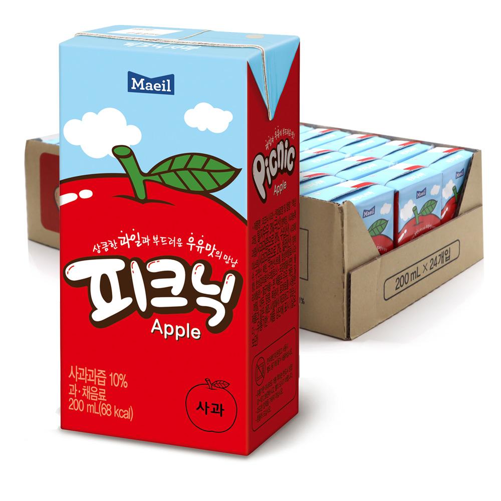 피크닉 사과 주스, 200ml, 24개