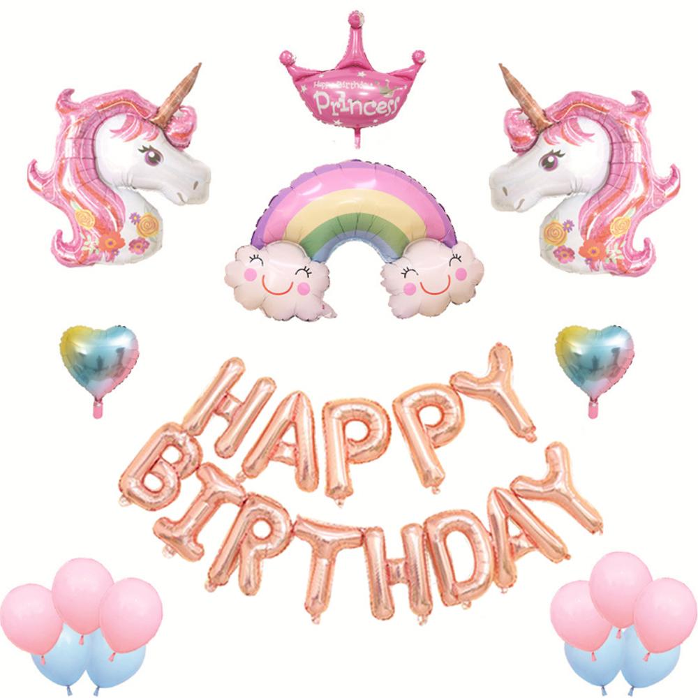 미니띠네 생일파티 그라데이션 하트 유니콘 왕관세트, 혼합 색상, 1세트