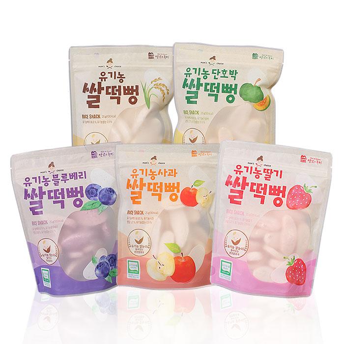 맛있는풍경 유기농 쌀떡뻥 딸기 25g + 사과 25g + 블루베리 25g + 단호박 25g + 플레인 25g, 1세트