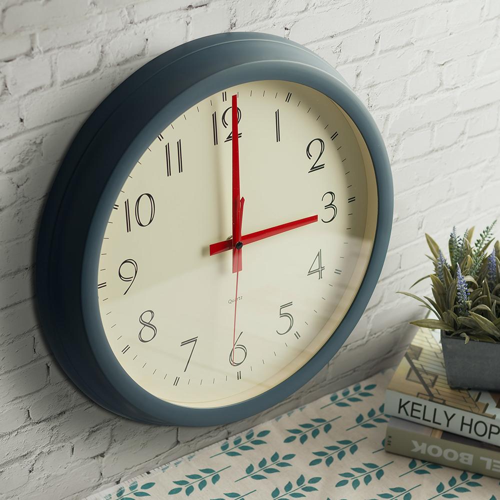 플라이토 레트로 원형 인테리어벽시계 35cm, 네이비