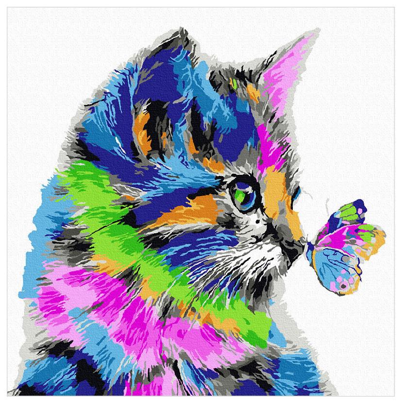 아트조이 DIY 명화그리기 물감 + 붓 세트 30 x 30 cm, 나비와 고양이