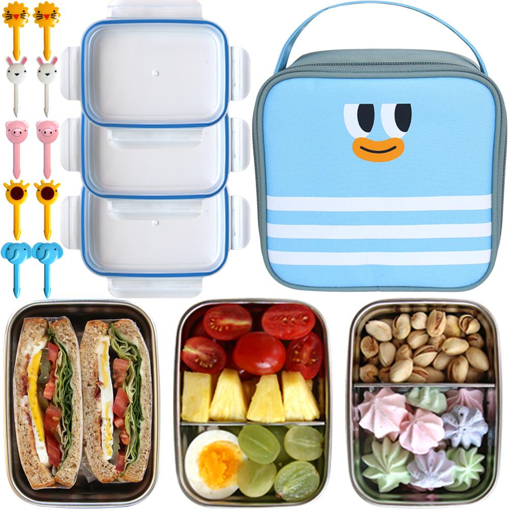 도시락 픽 스텐도시락 3단 가방세트 픽 10p + 깊은밥통 + 칸막이찬통 2p + 가방, 블루, 1세트