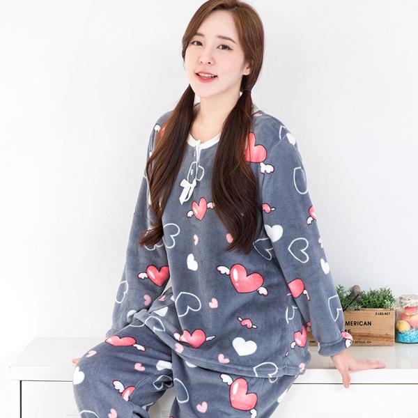 이라인 천사날개 여성용 밍크상하 수면잠옷