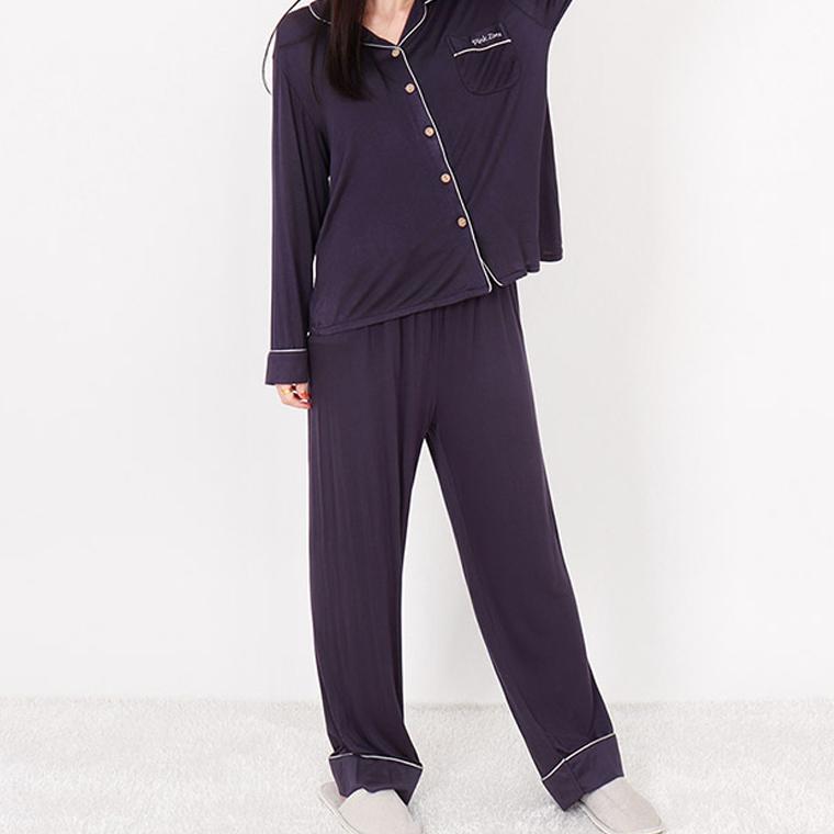 핑크존 여성용 텐셀 카라 단추 잠옷 상하세트