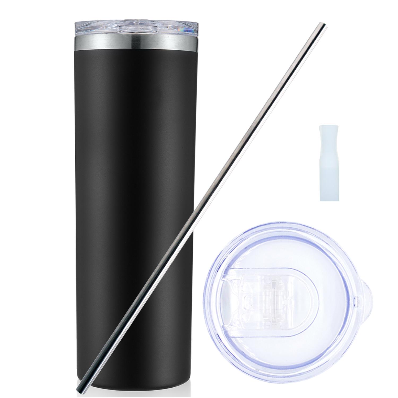 그랏토 아이컵 보온보냉 텀블러 진공컵 + 뚜껑 + 스텐빨대 + 안전실리콘 + 세척솔 세트, 블랙, 600ml