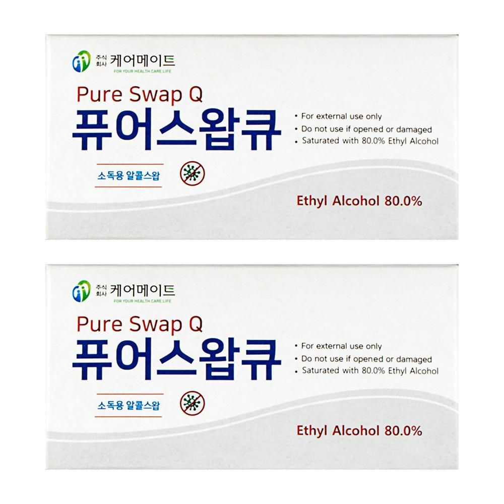 퓨어스왑큐 에탈올 소독용 알콜스왑, 100개입, 2개
