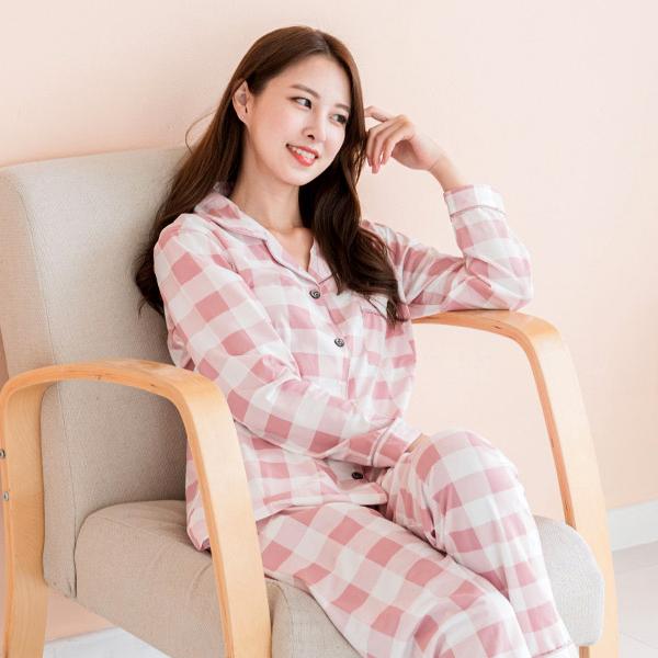 민트코코아 여성용 체크 긴팔잠옷 세트