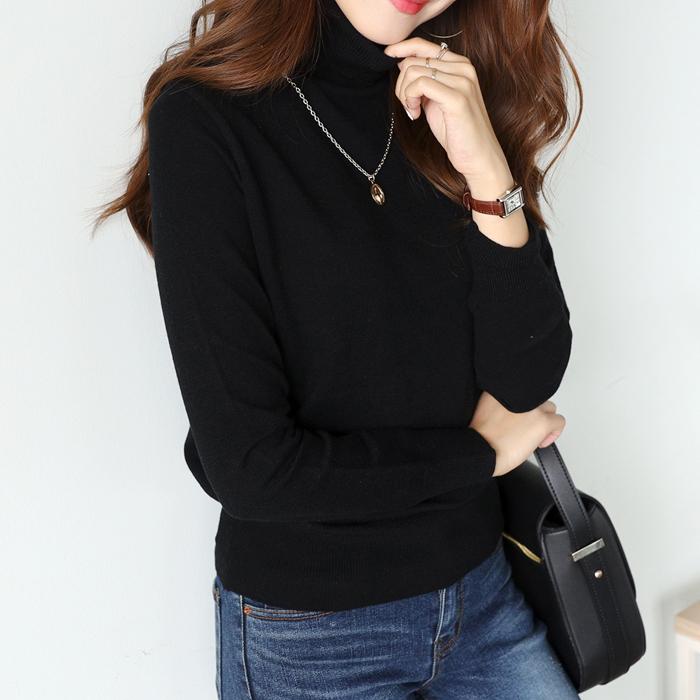 플레이팝 여성용 부드럽고 따뜻한 베이직 긴목폴라 니트 티셔츠