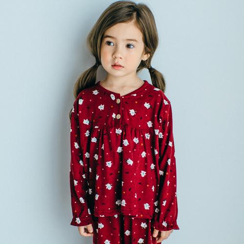 속옷미인 여아용 피치기모 캐스퍼 잠옷세트