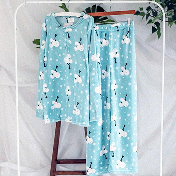 글램공감 남성용 밍크눈꽃나무 수면잠옷 라운드투피스