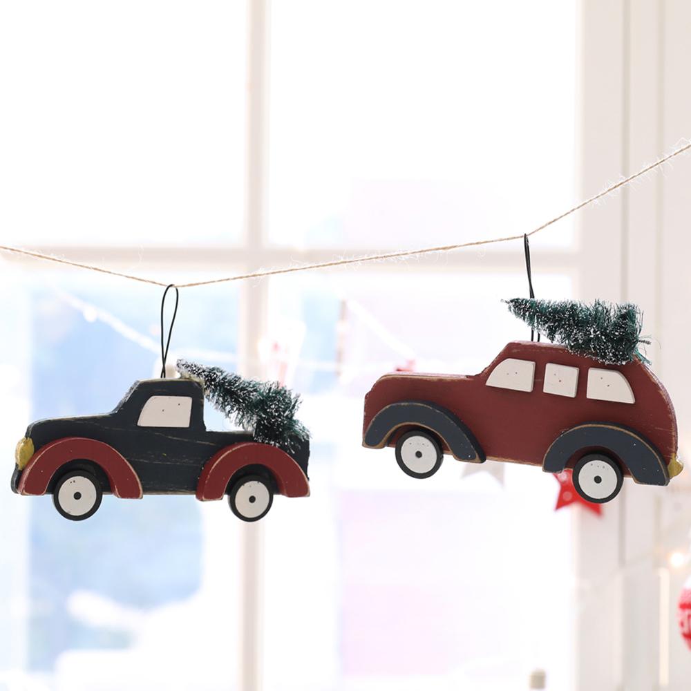 행복한마을 D형 크리스마스 트리 우드오너먼트 2종세트, 혼합 색상