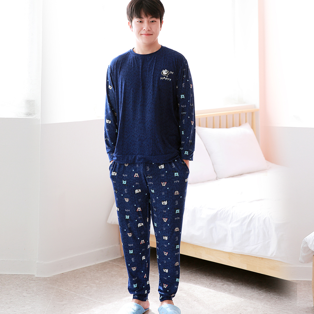 BB 남성용 피치기모 잠옷 긴팔 상하 세트