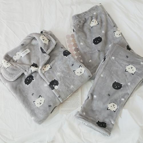 글램공감 커플 밍크네로 수면잠옷 카라투피스