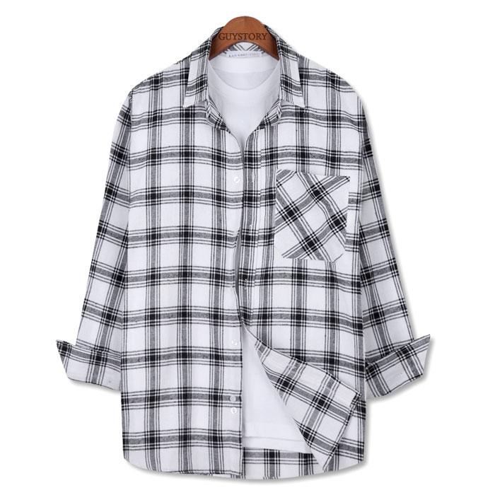 가이스토리 남성용 캐주얼 긴팔 남방 톤온 체크 셔츠